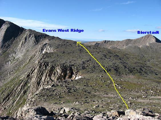 View of the Mt Evans west ridge and Mt Bierstadt from the summit of Mt Spalding