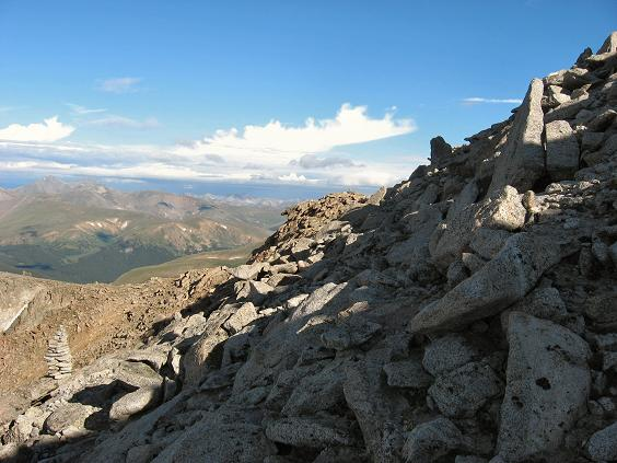 A closer look at the terrain on the west ridge of Mt Evans