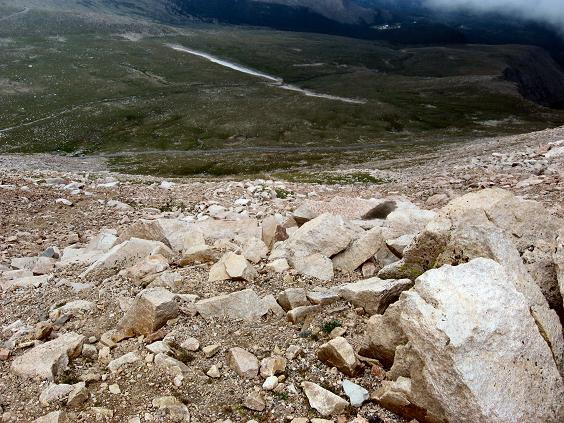 A look at the descent route on Mt Evans