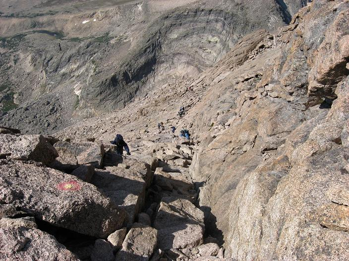 A good view of the Home Strech from the top - Longs Peak