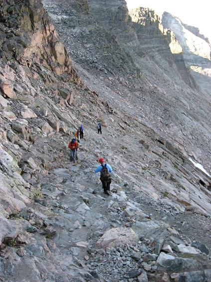 Kindred souls crossing to the trough with fear and trepidation - Longs Peak