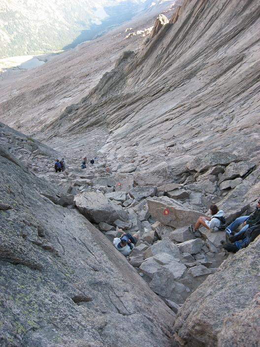 Top of the trough, the scary parts are next - Longs Peak