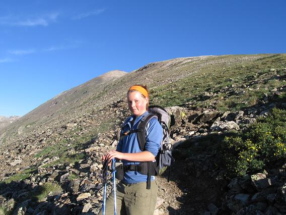 Not sure if Vicky is enjoying the early morning hike? - Quandary Peak